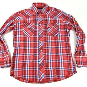 Wrangler Men's Large Red Plaid Western Pearl Shirt